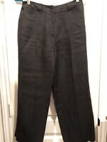 Talbots Womens Dark Gray Black Irish Linen Pants Size 4