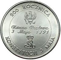 Gedenkmünze Polen - 10000 Zlotych 1991 - Grundgesetz 1791 - Stempelglanz UNC