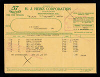 H.J. HEINZ CORPORATION SAN FRANCISCO CAL 57 VARIETIES INVOICE BILLHEAD 1918