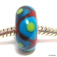 Ámbar, triángulos azul y verde manchas Petite Pulsera Europea Grano de Cristal de Murano