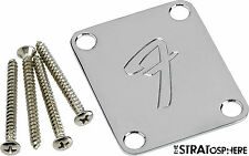 "NEW Fender Vintage ""F"" Logo Strat Tele NECK PLATE Screws Guitar & Bass Parts"