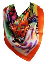 Abstract Print Multi Colour Silk Satin Bandana Square Scarves Head Scarf