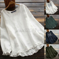 Women Linen Cotton Vintage Floral Embroidered Shirt Tops Frill Loose Blouse Plus