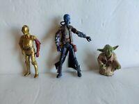 Lot of 3 pc Star Wars Figures 2004 Yoda, 2013 C-3P0 & 2010 Cad Bane