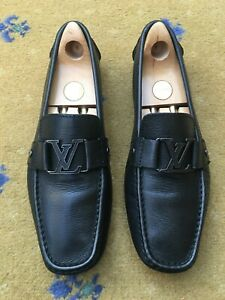 LOUIS VUITTON MENS BLACK LEATHER MONTE CARLO LOAFERS SHOES UK 9 US 10 43 DRIVER