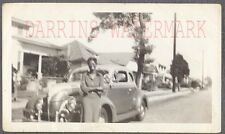 Vintage Car Photo Smiling Woman w/ 1939 Ford w/ Custom Trim 727655