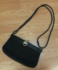 Worthington Black Crotchet Laced Women's Purse Long Leather Strapped Tote!