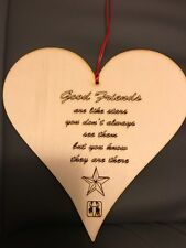 "Wooden ""Good Friends"" Gift  Engraved 3mm Ply with horoscope sign"