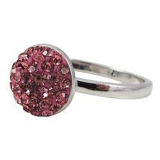 Hot Pink Pave Crystals Shamballa Inspired Sterling Silver Ring (5)