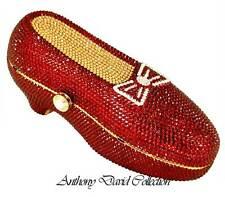 AnthonyDavid Ruby Red Slipper Crystal Shoe Evening Bag with Swarovski Crystals