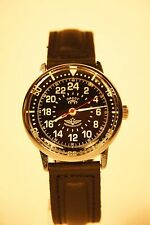 Russian mechanical watch RAKETA PILOT. 24H USSR Black dial. 34 mm