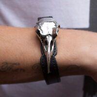 GENUINE Alchemy Gothic Wriststrap - Rabeschadel | Men's Raven Skull Bracelet