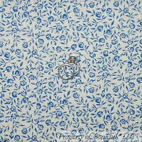 BonEful Fabric FQ Cotton Quilt Cream Blue French Cottage Shabby Chic Rose Flower