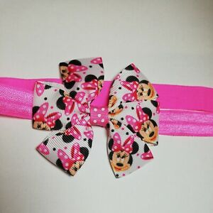 Elastic Stretchy Hadband With MINNIE MOUSE Ribbon Bow Girls Baby Toddler Bows