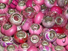 NEW Special VALUE 30/pcs Pinks MIXED Acrylic charm, European Beads LOT