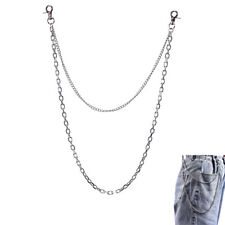 Double Layer Punk Metal Hipster Jean Belt Keychain Rock Waist Chain JewelryLDUK