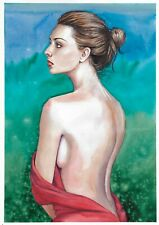 original drawing A3 303ShA art samovar watercolor portrait female nude 2020