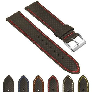 StrapsCo 22mm Carbon Fiber Smart Watch Band Strap with Quick Release Spring Bars