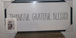 RAE DUNN THANKFUL GRATEFUL BLESSED Black Wood Frame Canvas Art Decor 7.25x15.25