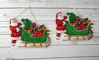 Set of 2 Vintage Christmas Plastic Hanging Decoration Santa Sleigh Toys Glitter