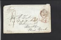 NEW YORK,NEW YORK 1855 INCOMING TRANSATLANTIC STAMPLESS FROM ENGLAND, BACKSTAMPS