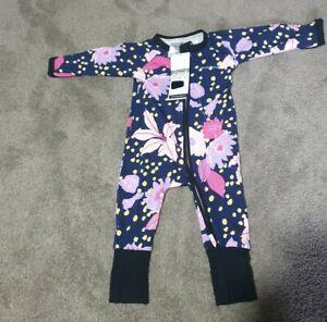 Bonds Baby zippy wondersuit Size 00 3-6 months) navy floral BNWT flowers purple