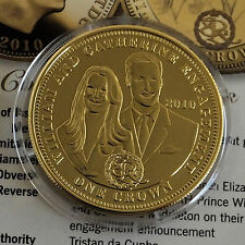 2010 WILLIAM & CATHERINE ENGAGEMENT TDC GOLD LAYERED PROOF CROWN - coa