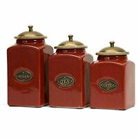 IMAX 5268-3 Red Ceramic Canisters Set/3 Handcrafted with Mango Wood Lid