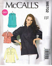 Easy Misses Back Yoke Pullover Tops McCalls Sewing Pattern Size XS S M 4-14