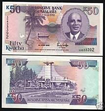 MALAWI 50 KWACHA P28 A 1990 DR. BANDA BOAT ROOSTER UNC RARE MONEY BANK NOTE