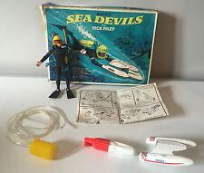 VINTAGE 1960s MATTEL'S SEA DEVILS RICK RILEY MOTORISED SEA JET & AQUANAUT BOXED