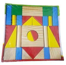 Gioco Costruzioni in Legno Colorato Educativo Per Bambini Bimbi 31 Pezzi dfh