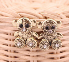 Adorable Gold Tone Teddy Bear Stud Earrings W/ Rhinestones/ US Seller!