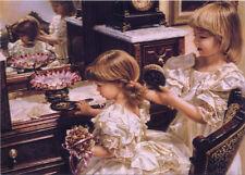 ART Sandra KUCK Kids Child Two Little Girls Mirror Hairstyle Modern Postcard #14