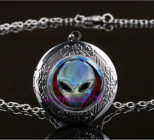 Metal Alien Head Photo Cabochon Glass Gun Black Locket Pendant Necklace