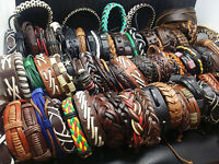 wholesale 50PCs assorted men's women's vintage retro leather cuff band bracelets
