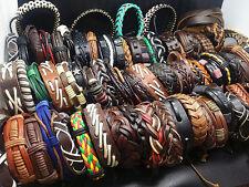wholesale 50PCs assorted men's women's vintage retro leather cuff band bracelets