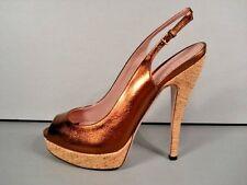 f3a7c436b9d8bc Gucci Lisbeth Metallic Bronze Platform Sandals Peeptoe Slingback PUMPS 38 8