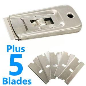 Blade Scraper Window Clean Paint Label Tool Remover Razor Glass Cleaner 5 Blades