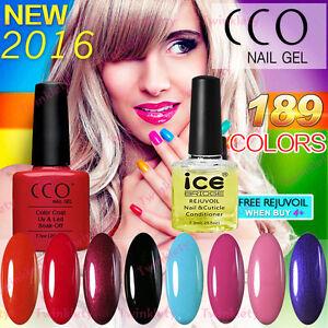 CCO Nail Polish UV Gel Soak Off Original 189 Colours Top Base Coat 7.3ml Genuine