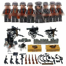 8pcs Military German Soldier Figures Building Block with WW2 Weapons Toys Bricks