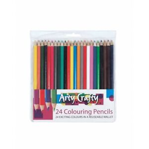 24 Pack Assorted colouring pencils Strong Leads arty crafty children Pencils