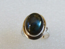 FASHION STERLING SILVER 925 GENUINE OVAL LABRADORITE RING SIZE 7.5