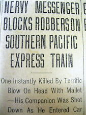1912 newspaper Wild West train robbery BUTCH CASSIDY / SUNDANCE KID GANG killed