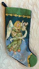 Angel Playing Harp Christmas Stocking w/Green Background - Handmade Needlepoint