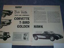 1957 2x4 Corvette 312 Thunderbird Golden Hawk Comparison Vintage Info Article