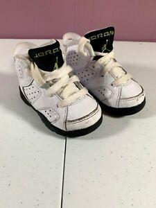 Toddler Kids Jordan 6 Retro White Black Alligator Sneaker 384667-110 Size 5c