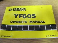 OEM Yamaha Owners   Manual 1985 UF60S Lit-11626-04-87