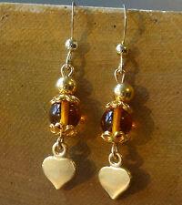 new AMBER 22ct GOLD & STERLING SILVER love heart bead drop pierced earrings -K72