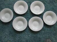 NICE Set of 4 Dollhouse Miniature Square Modern White Porcelain Bowls #SPLP15